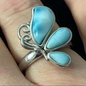 Vintage Caribbean Larimar Sterling Silver Ring